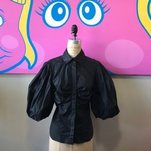 Bebe Black Stretch Cotton Puff Sleeve Blouse